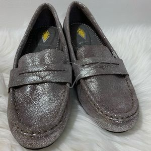 Volatile Grey/Taupe Glittery Penny Loafer Size 7.5